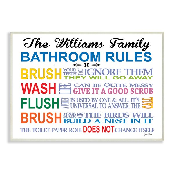 Personalized Bathroom Rules Rainbow by Janet White Textual Art Plaque by Stupell Industries