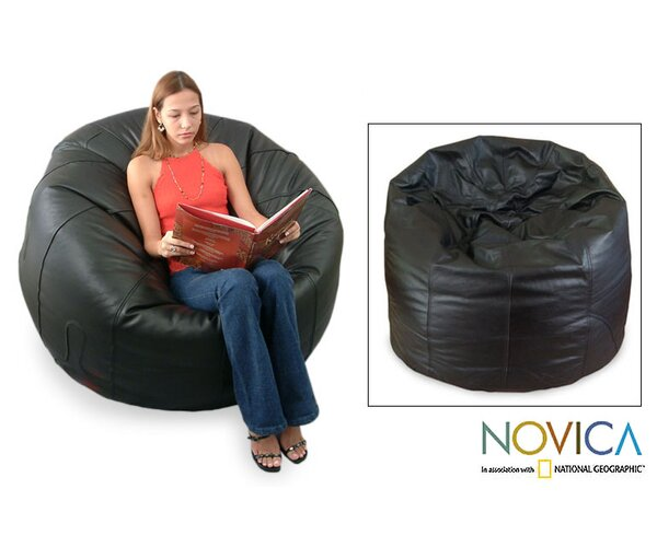 Leather Comfort Bean Bag Cover by Novica