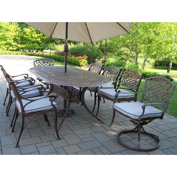 Mcgrady Dining Set with Cushions and Umbrella by Astoria Grand
