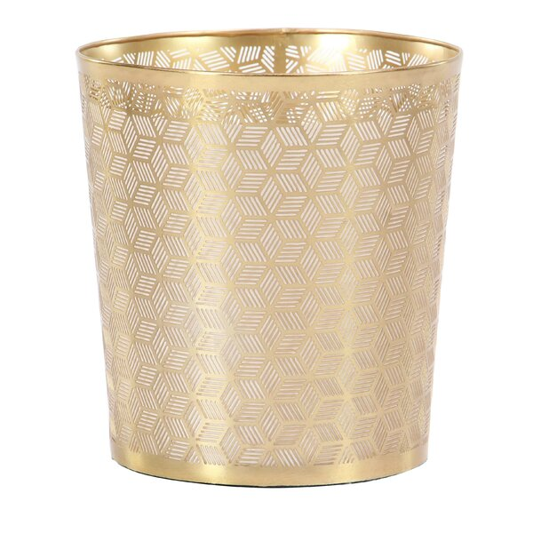 Modern Geometric Lattice Design Round Waste Basket by Cole & Grey