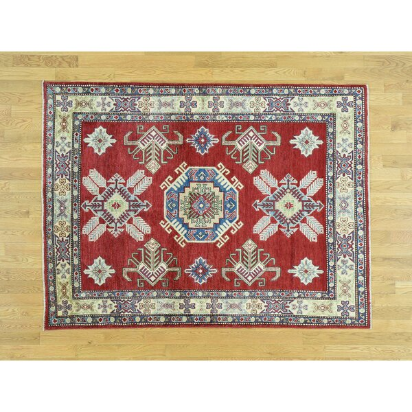 One-of-a-Kind Bechtold Geometric Design Handwoven Red Wool Area Rug by Isabelline