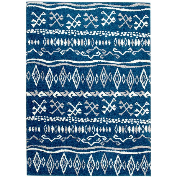 Botolph Tribal Blue/White Area Rug by Bungalow Rose