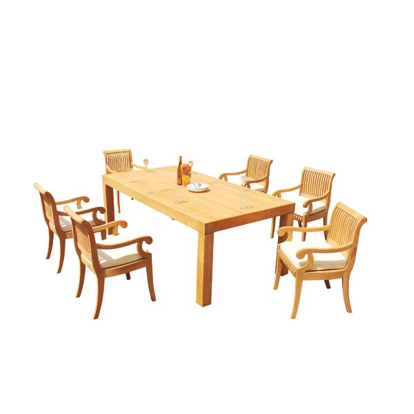 Maspeth 7 Piece Teak Dining Set by Rosecliff Heights