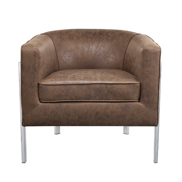 Doane Faux Leather Upholstered Wooden Armchair by Mercer41
