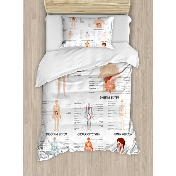 Human Anatomy Complete Chart of Different Organ Body Structures Cell Life Medical Illustration Duvet Set by East Urban Home