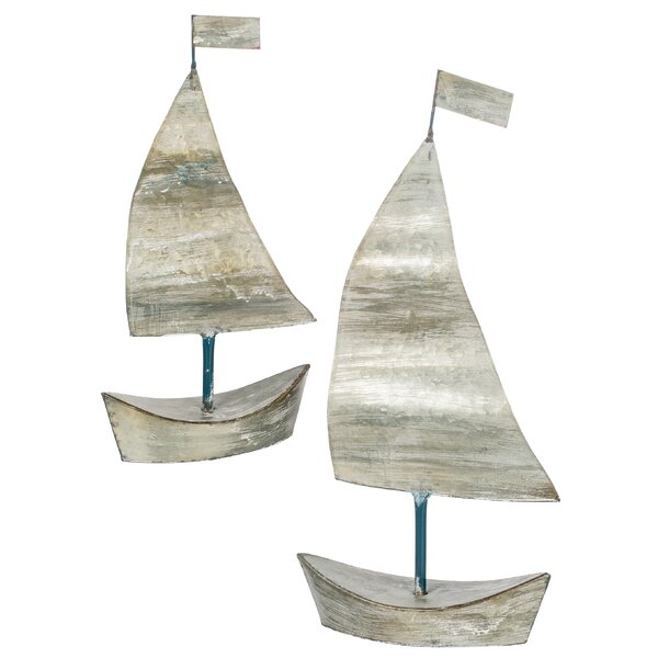 2 Piece Esai Decorative Metal Tabletop Sailboat Set by Longshore Tides