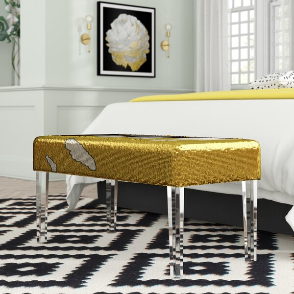 Feuer Sequin Upholstered Bench with Acrylic Leg by Mercer41