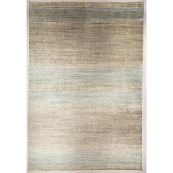 Quitman Modern Ombre Hand-Loomed Beige/Blue Area Rug