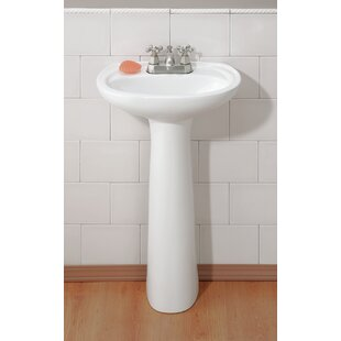 Best Reviews Fiore Vitreous China 19 Pedestal Bathroom Sink with Overflow By Cheviot Products