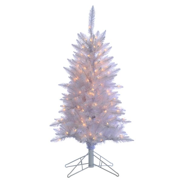 White Artificial Christmas Tree with Clear Lights with Stand by Sterling Inc.