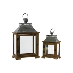 Wood Lantern with Metal Top and Ring Handle Set of Two Dark Stained Wood Finish (Set of 2)