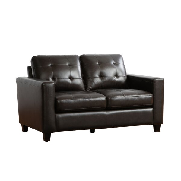 Dion Genuine Leather Loveseat by 17 Stories