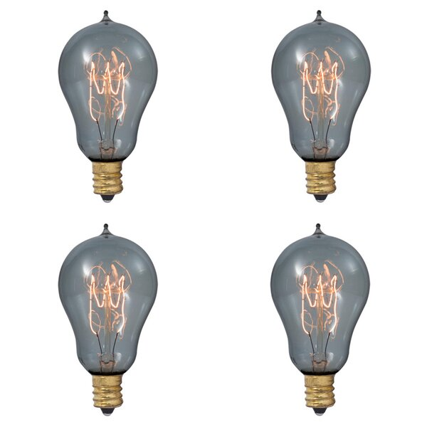 25W E12 Dimmable Incandescent Light Bulb Smoke (Set of 4) by Bulbrite Industries