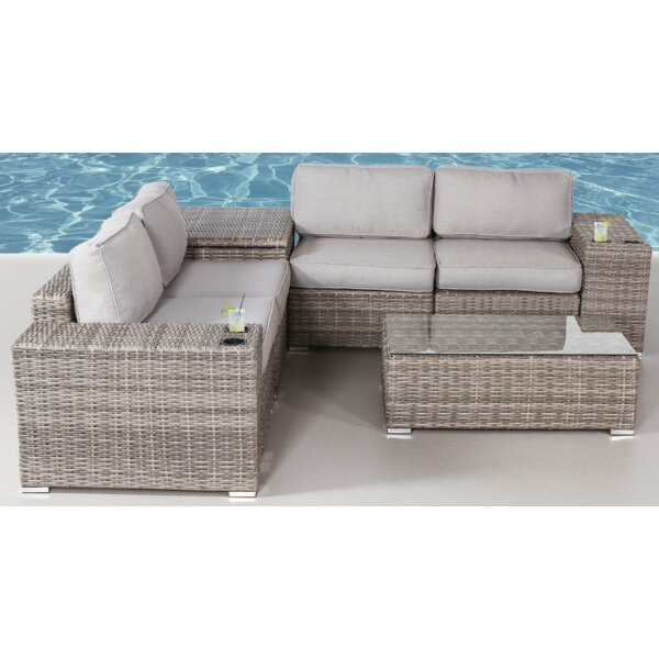 Yeomans Sectional Seating Group with Cushions by Rosecliff Heights