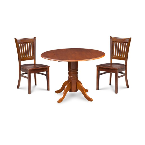 Miriam 3 Piece Drop Leaf Solid Wood Dining Set by Breakwater Bay