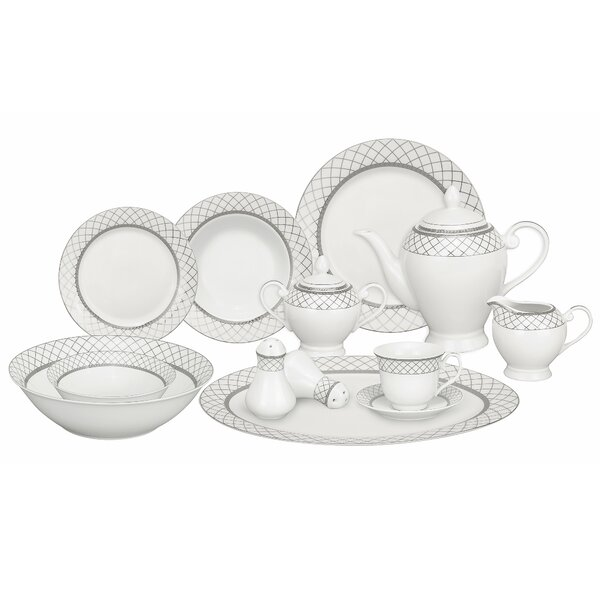 Verona Porcelain 57 Piece Dinnerware Set, Service for 8 by Lorren Home Trends