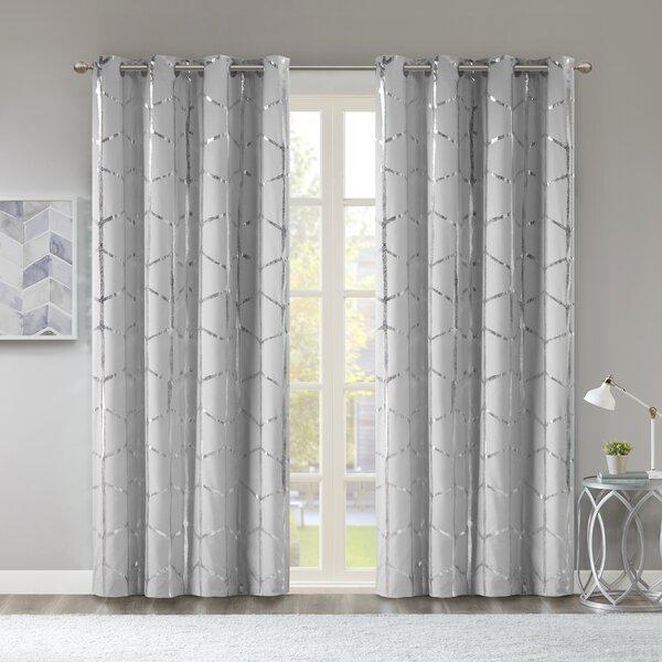 Mangesh Metallic Geometric Max Blackout Grommet Single Curtain Panel by Willa Arlo Interiors