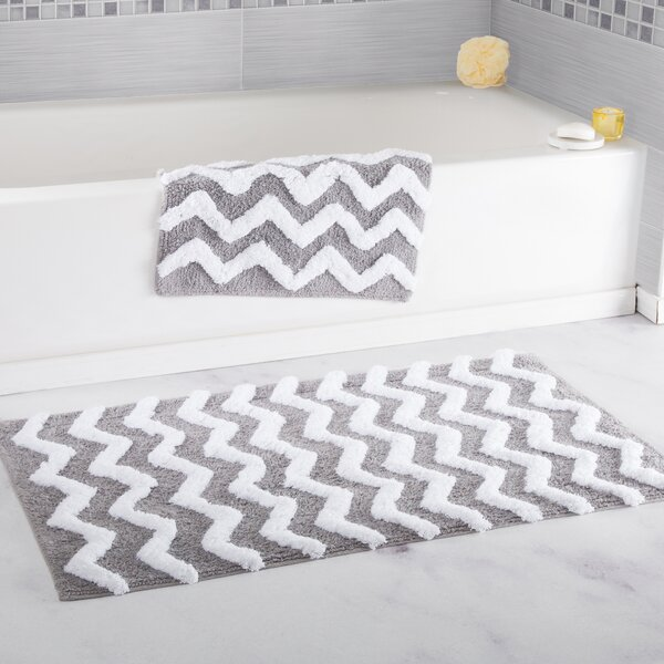 2 Piece Chevron Cotton Bath Mat Set by Lavish Home