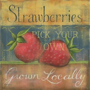 Strawberries Burlap Box by Kim Lewis Painting Print by Star Creations