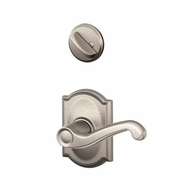 Interior Handleset Flair Lever and Interior Single Cylinder Deadbolt Thumbturn with Camelot Trim by Schlage