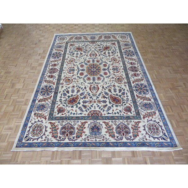 One-of-a-Kind Railsback Suzani Hand-Knotted Wool Ivory Area Rug by Astoria Grand