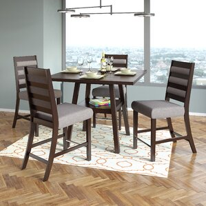 Grayslake 5 Piece Rubberwood Counter Height Dining Set by Three Posts