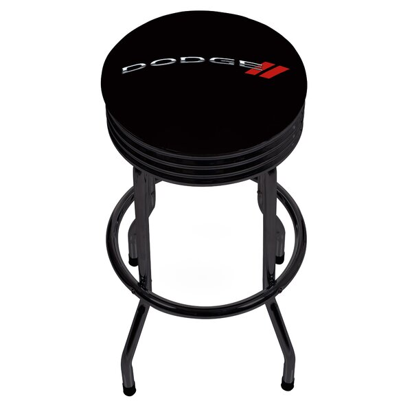 Dodge Logo Ribbed 28.5 Swivel Bar Stool by Trademark Global