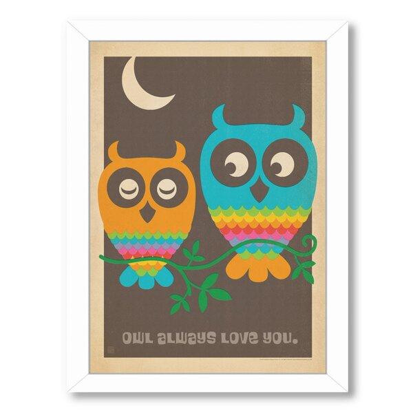 Mod Owls Framed Vintage Advertisement by East Urban Home