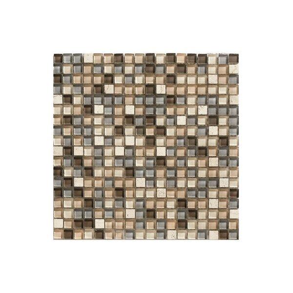 Siberia Glass Mosaic Tile in Beige and Black by Kellani
