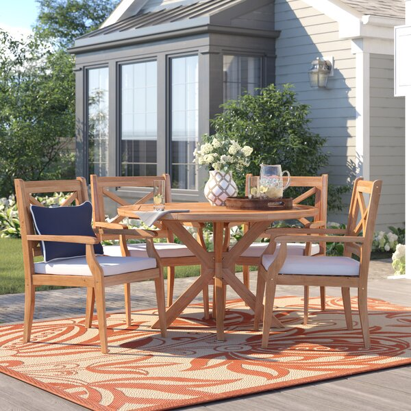 Dawley Outdoor 5 Piece Dining Set with cushions by Three Posts