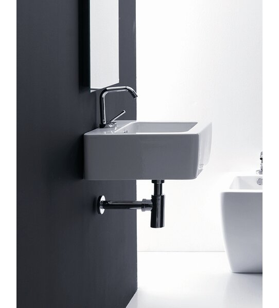 Ego Ceramic 24 Wall Mount Bathroom Sink with Overflow by WS Bath Collections