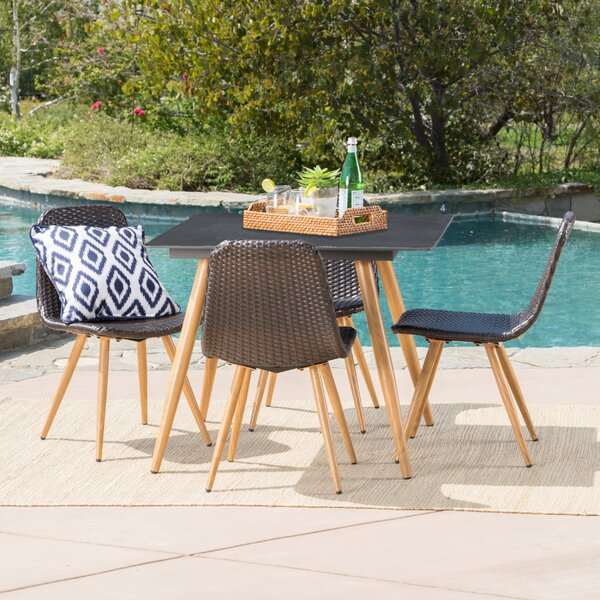 Garlick Outdoor Wicker 5 Piece Dining Set by Ivy Bronx
