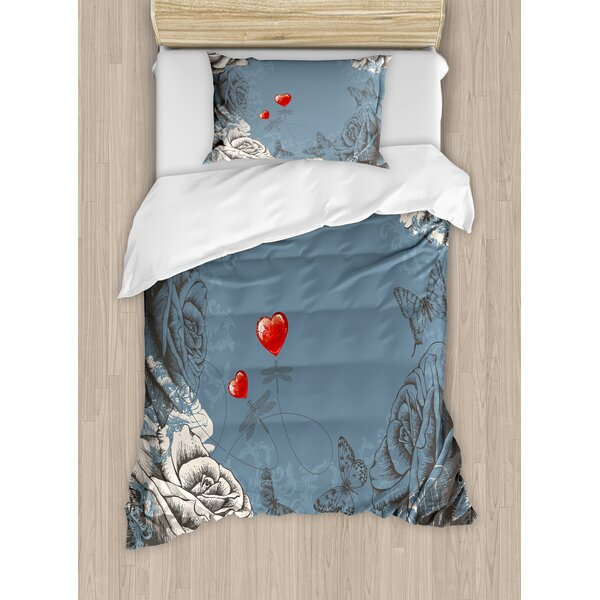 Grunge Rose Petals and Butterflies Hearts Love Valentines Vintage Design Duvet Set by East Urban Home