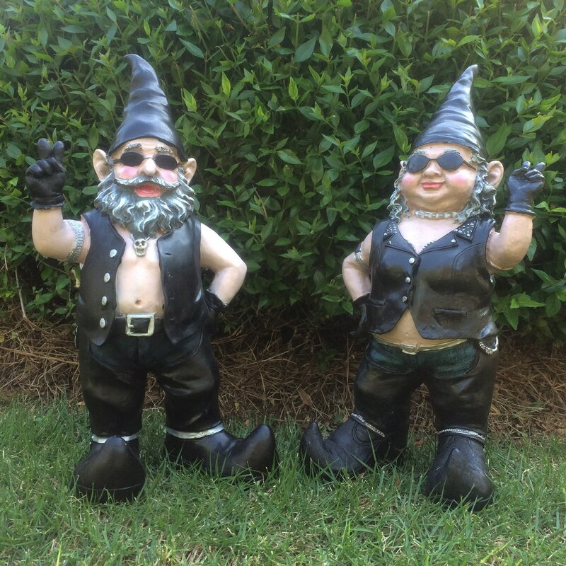 Nowaday Born To Ride 2 Piece Biker Gnome Set