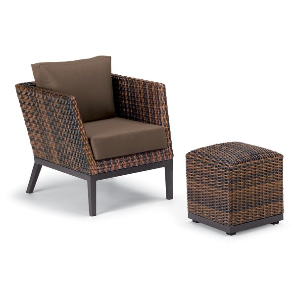 Mandeville Woven Patio Chair with Cushions and Ottoman by Beachcrest Home