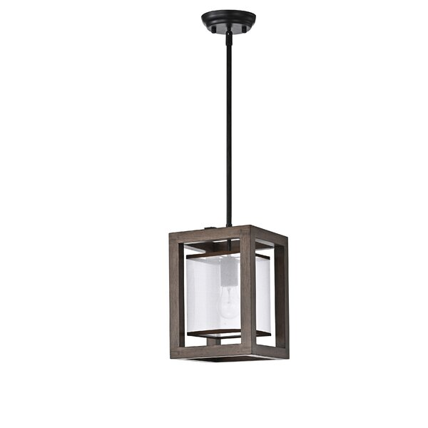 Cairns 1 - Light Lantern Rectangle Pendant with Wrought Iron Accents by Gracie Oaks Gracie Oaks