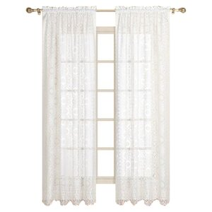 Rochelle Nature / Floral Sheer Rod Pocket Single Curtain Panel