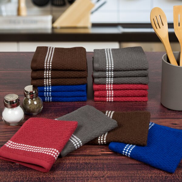 Striped Waffle Dishcloth (Set of 16) by Beachcrest Home
