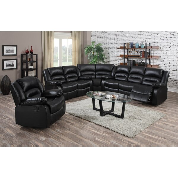 Yajaira Leather Reclining Sectional by Red Barrel Studio