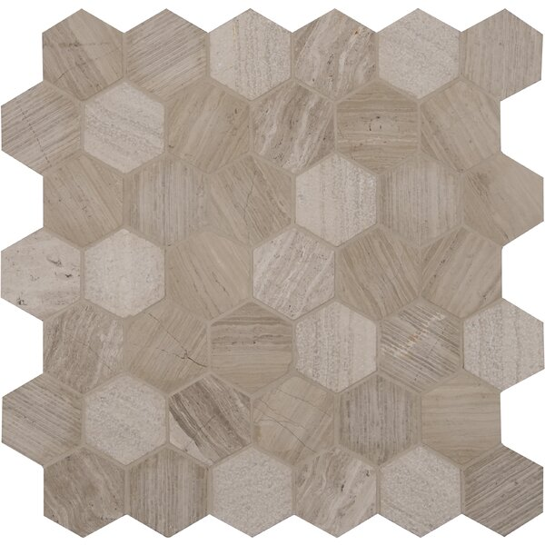 Honey Comb Hexagon 2 x 2 Marble Mosaic Tile in Off-White by MSI