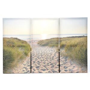 Lake Clarke Beach Walk 3 Piece Photographic Print on Wrapped Canvas Set by Beachcrest Home