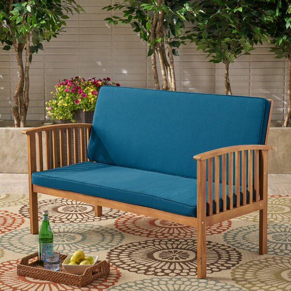 Safira Outdoor Acacia Wood Loveseat with Cushions by Beachcrest Home
