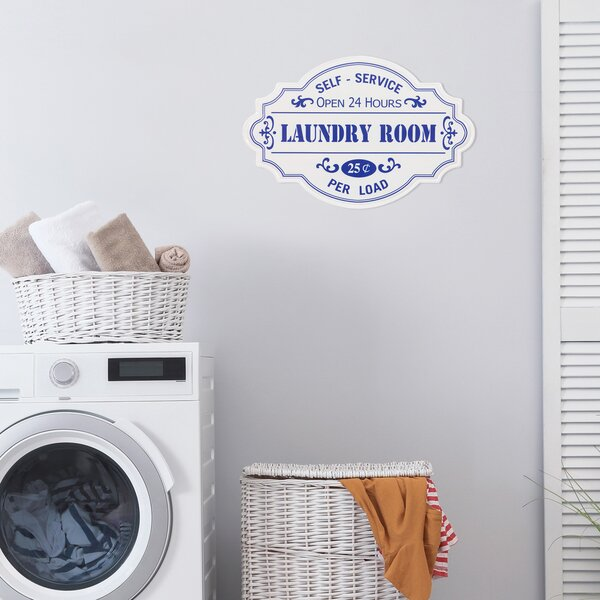 """/""""Laundry Room Open 24 Hours/"""" Metal Antique Wisdom Sign Wall Décor Wall Art"""