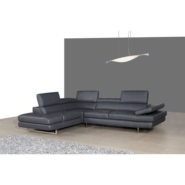 Kamila Leather Sectional By Orren Ellis