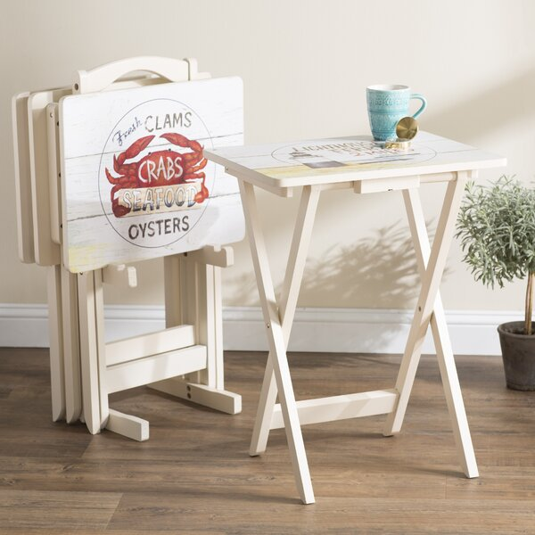 Whittier TV Tray Table with Stand (Set of 4) by Beachcrest Home
