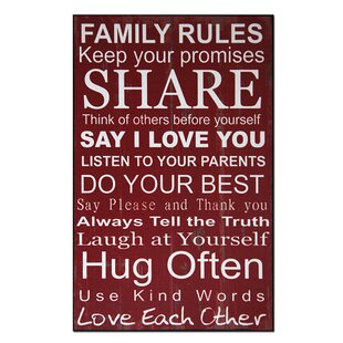 Exceptionnel Family Rules Textual Art Plaque