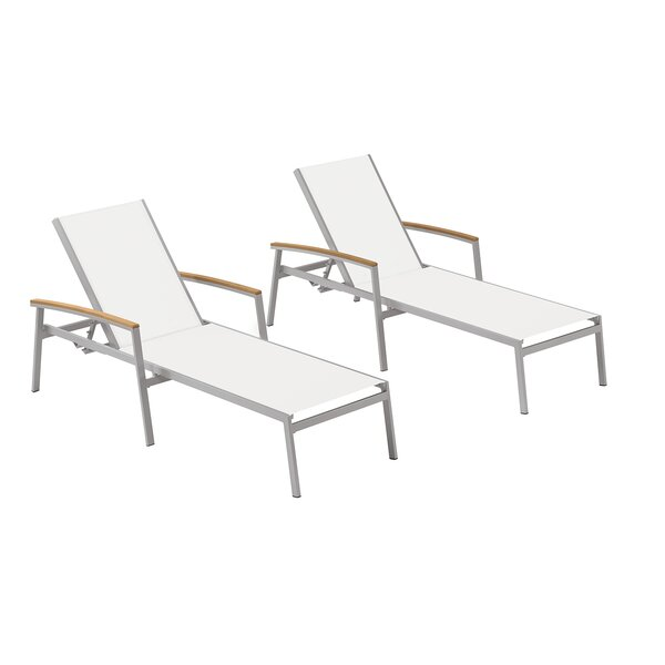 Caspian Powder Coat Flint Reclining Chaise Lounge (Set of 2)