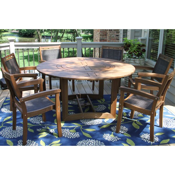 Mallie Eucalyptus and Sling Lazy Susan 7 Piece Dining Set by Beachcrest Home