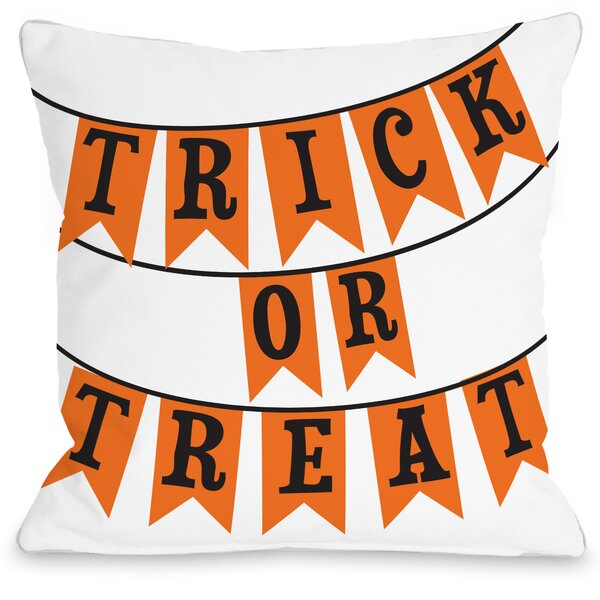 Trick or Treat Banners Throw Pillow by One Bella Casa