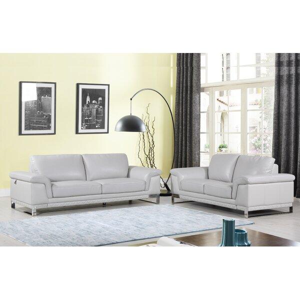 Lara Luxury Italian Leather 2 Piece Living Room Set (Set of 2) by Orren Ellis